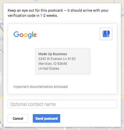 Google My Business postcard confirmation